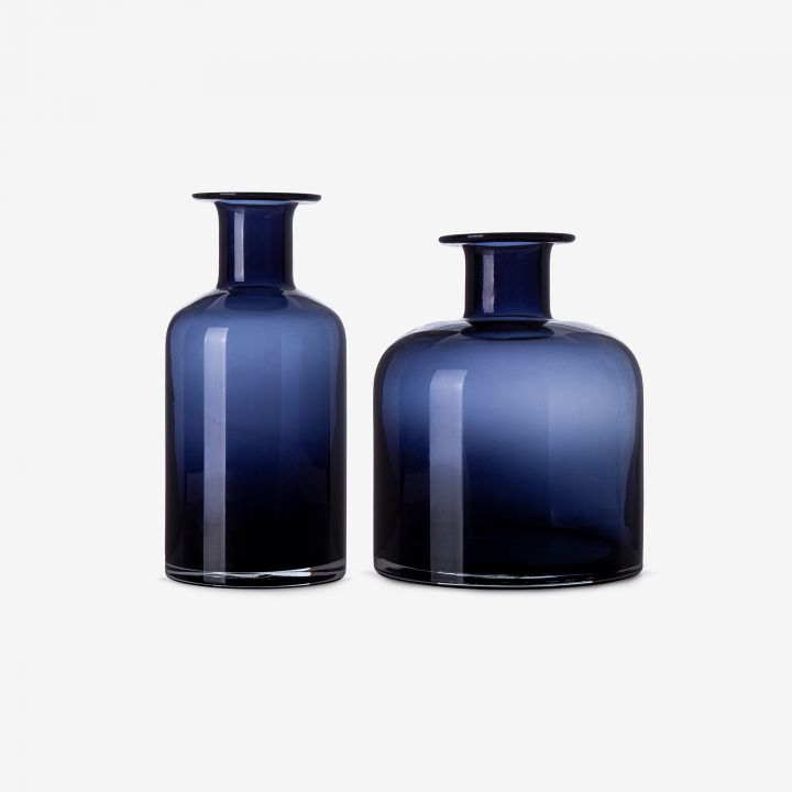 אגרטל זכוכית כחולה PHARMA צר